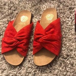 Vince Camuto red suede slides
